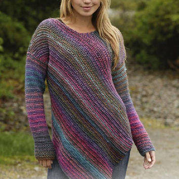Knitted Sweater Rainbow sweater stripes asymetric long sweater gradient yarn women jumper girl pullover wool hand knit colorful Drops Lilith