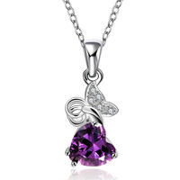 Lady's Brass Pendant Necklace (45cm + 5cm Extension) with Purple Heart Swarovski Elements and Butterfly with Bling