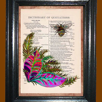 Gaudy Rainbow Ferns with a Buzzing Bee, Ferns Print, Bee Art, Kitsch Art, Upcycled Vintage Dictionary Page Book Print