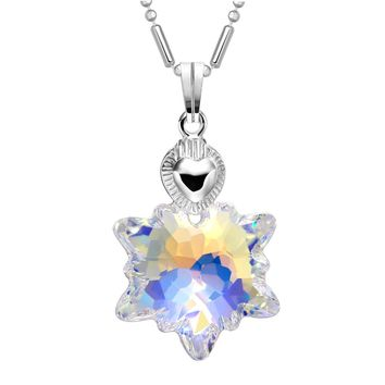 Cute Sparkling Mystic Rainbow Snowflake Super Star Crystal Charm Silver-Tone Heart Style Necklace