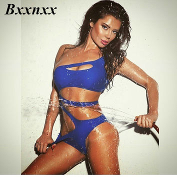 Bxxnxx Solid Cut Out One Piece Swimsuit Bandage For Women One shoulder Monokini Swimwear Bathing Suit bodysuit