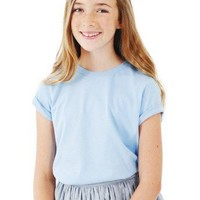 American Apparel Youth Fine Jersey Short Sleeve T-Shirt -blue