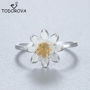 Elegant Lotus Flower 925 Sterling Silver Opening Rings For Women Fashion Wedding Sterling Silver Jewelry Bague Femme