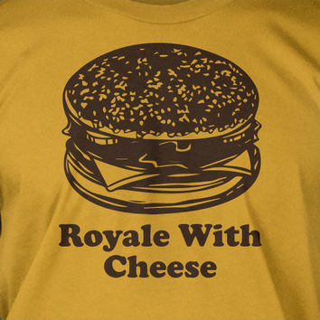 Pulp Fiction Funny Classic Movie Cheese Burger Royale With Cheese - Screen Printed T-Shirt Tee Shirt T Shirt Mens Ladies Womens Funny Geek