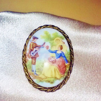 Vintage Porcelain Victorian Fragonard Painting Gold Cameo Brooch Pin or Pendant Rococo Art Courting Musician & Woman Garden Romance Estate