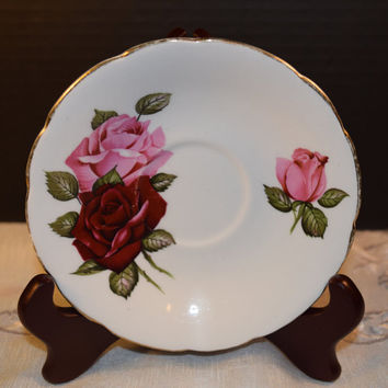 Dark Rose Saucer Vintage Rose Saucer Gold Rim Bone China Made in England Discontinued China Replacement Holiday Dinnerware Shabby Chic Dish