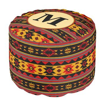 Southwest Design Red Black Gold Monogram Round Pouf