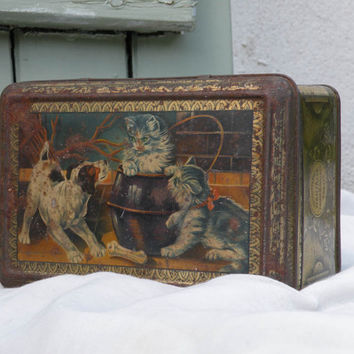 French vintage biscuit tin, cat and dog tin, old biscuit tin, shabby chic tin, cat and dog biscuit box, French biscuit tin