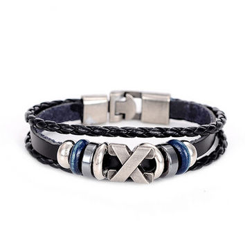 Cuff braided Wrap Bracelet & Bangles Men Jewelry Pirate Genuine Leather Anchor Bracelets Gifts Vintage Men's Jewelry