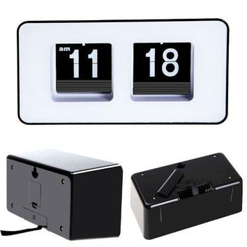 PHFU  Retro Auto Flip Clock Classic Stylish Modern Desk Wall Clock