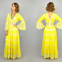 vtg 50's Pintuck Cotton + Lace DANDELION YELLOW bohemian hippie wedding MEXICAN maxi dress, small-medium