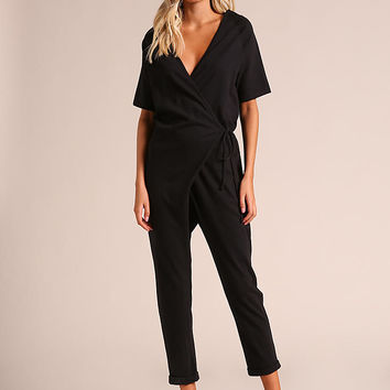 Black Low V Wrap Jumpsuit