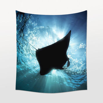 Manta Ray Wall Art, Tapestry, Sea Animal, Interior Design, Wall Decoration, Beach House Decor