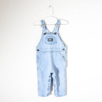 Vintage OSH KOSH Baby Overalls | Bib Overalls Blue Jean Unisex Overalls One Piece Playsuit Boys Girls Denim Overalls Vintage Baby 80s Jeans