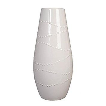 "Hosley Large 12"" Tall White Ceramic Vase"