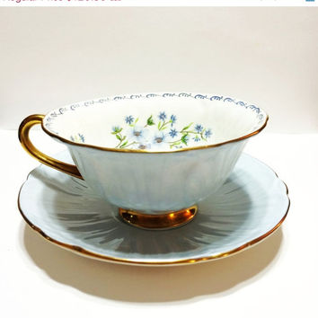 ON SALE Vintage Shelley Tea Cup, Oleander, Blue Rock, Light Blue, English Tea Cup, Wedding Gift, Bridal Shower, Interior Flowers, Gold, 1950