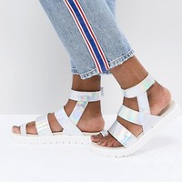 Monki Strap Detail Holographic Sandal at asos.com