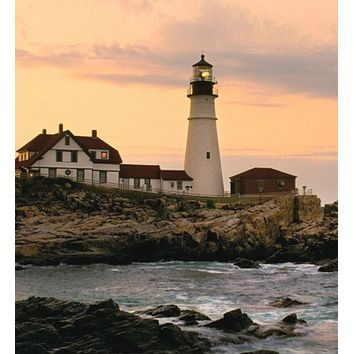 """LED Cottage and Lighthouse on the Shoreline at Sunset Lighted Canvas Wall Art 11.75"""" x 15.75"""""""