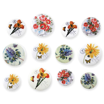 Wooden Buttons, Floral Fancy Button Embellishment,  Patterned Wood, sizes 18/20/25mm 12 per Pkg