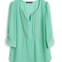 Green V-neck Half Sleeve Studded Pintucks Chiffon Blouse - Sheinside.com