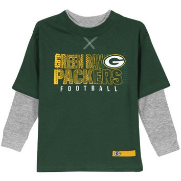 Green Bay Packers Toddler Scrimmage Faux Layer Long Sleeve T-Shirt - Green/Ash - http://www.shareasale.com/m-pr.cfm?merchantID=7124&userID=1042934&productID=555856213 / Green Bay Packers