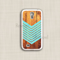 Galaxy S4 Case, Teal Geometric Arrow on Wood Samsung S4 cases, Galaxy S4 Hard Cover, Designer Coolest Unique Case for Galaxy S4