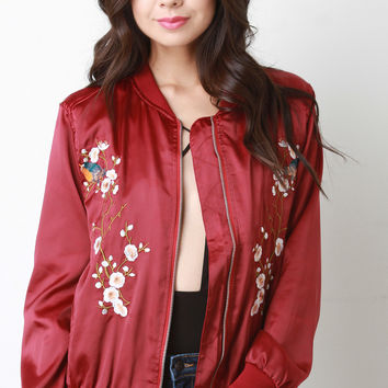 Floral Embroidered Charmeuse Bomber Jacket