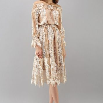 Carol of Lace Mesh Off-Shoulder Dress in Tan