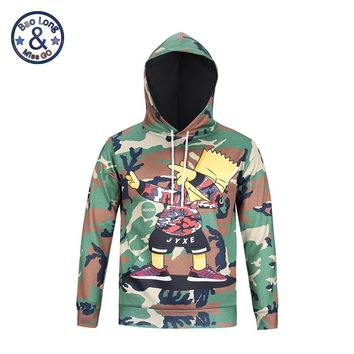 Mr.1991INC&Miss.GO Autumn And Winter Men's 3D   Simpsons Printed Thin. Long-Sleeve.Long-Sleeved youth Hooded Hoodie  Jacket