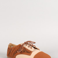 Dollhouse Two-Tone Perforated Nubuck Oxford Flat