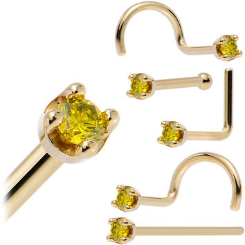Solid 14KT Yellow Gold (November) 1.5mm Genuine Yellow Diamond Nose Ring