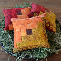 Fall Log Cabin Decorative Pillows - Tucks - Ornies - Autumn - Red - Orange - Gold - Home Decor