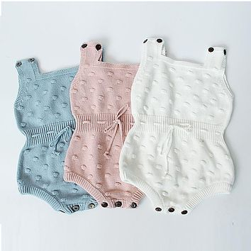 2017 Spring Baby Knitted Rompers Cute Newborn Baby Boy Girl Clothes Overalls Kids Knitted Jumpsuits Newborn baby clothes