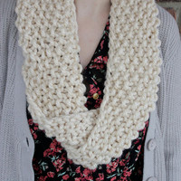 Infinity Circle Mobius Scarf in Natural Beige - White - Fall Fashion - Winter Accessory