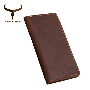 COWATHER high quality cow genuine Crazy horse leather men wallets long style two color fashion male purse