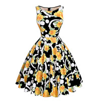 Print Floral 50s 60s Vintage Audrey Hepburn Sleeveless Summer Style Retro Dress