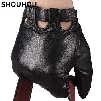 SHOUHOU 2017 Men Winter Gloves Genuine Sheepskin Leather Gloves Male Touch Screen Gloves Fashion Driving Gloves Mittens