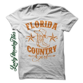 Florida Country Girl Shirt Redneck Line Dancing Gator Cowboy Boots Womens Ladies Girls T-Shirt Tee Shirt