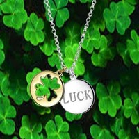 Bling Jewelry Lucky Four Leaf Clover Disc Pendant Necklace 16in Gold Plated   Bling Jewelry