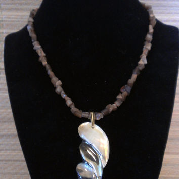Long Iridescent Shell Pendant with Brown Cat's Eye Glass Beads, Adjustable Necklace