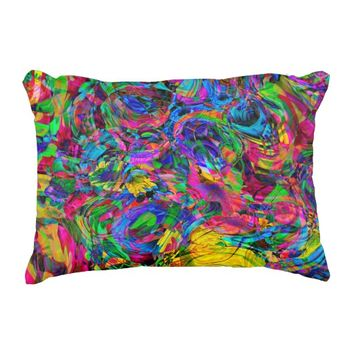Watercolor Abstract Colorful Paint Splatter Accent Pillow