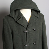 50s Men's WOOL DUFFLE COAT / Loden Green Hooded Toggle Jacket, L