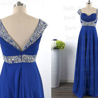 Royal Blue Long Prom Dresses, Custom Royal Blue Chiffon  Long Formal Gown, Straps Sweetheart Long Prom Gown, Wedding Party Formal Dresses