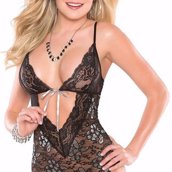 Deep V Lace Teddy