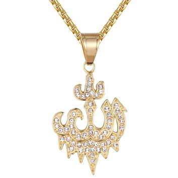 Men's Steel Dripping Allah Arabic Muslim God Pendant