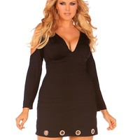 Plus Size Open Shoulder Little Black Club Dress
