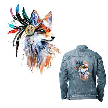 XC 2 Pieces Ironing Transfers Patches Heat Press Stickers for Families Lovely Fox Animal Patch DIY Appliques for Parent-childs