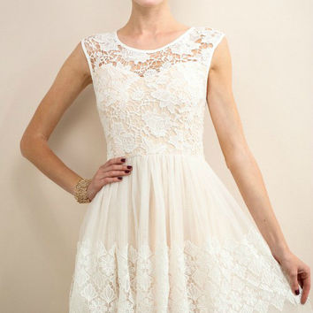 French Ivory Lace & Tulle Dress