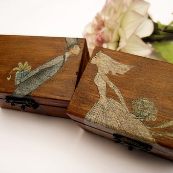 Vintage Rustic Wedding Wooden box Ring bearer Gift box Wedding decor gift idea
