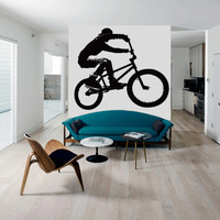 Wall Decal Vinyl Sticker Decals Bike Cycle BMX Bicycle Silhouette Jump  (z2764)